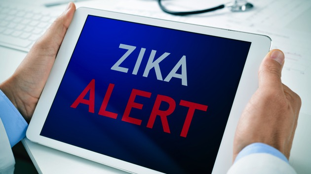 tablet with the text zika alert